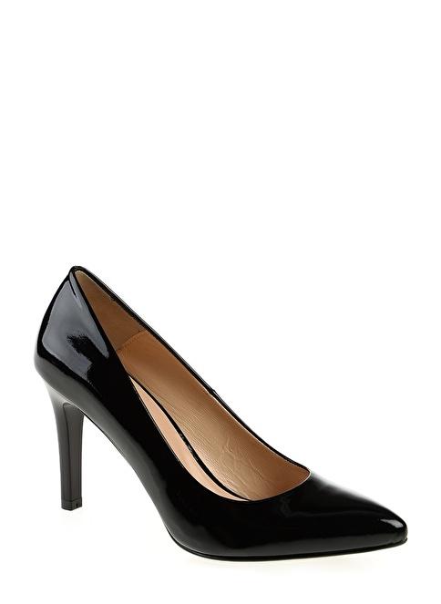 Divarese Deri İnce Topuklu Ayakkabı Siyah